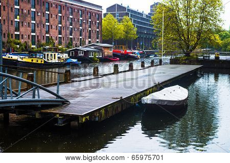 Boat Dock On Amsterdam Canal
