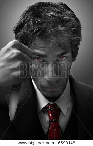 Homicidal Murderer Threatening With Knife Blade Dramatic Portrait