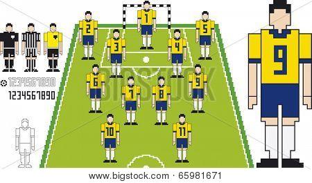 Vector illustration of Brazil Team Soccer tactical Kit