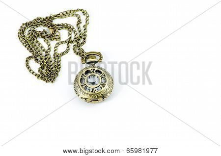Automatic Clock Locket Gothic Lolita Necklace Isolated Over White Background