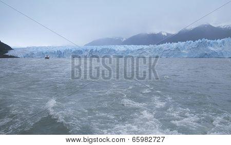 Patagonian Landscape. Perito Moreno Glacier And Mountains