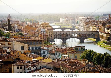Florence And Ponte Vecchio Panoramic View, Firenze, Italy