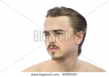 Man Thinking And Looking Away Left
