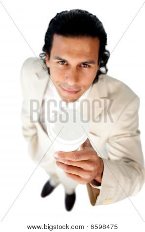 Attractive Ethnic Businessman Holding A Drinking Cup