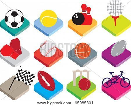 colour buttons for soccer, tennis, bowling, golf, boxing, baseball, basketball, rugby, motor racing, american football, cricket, cycling.
