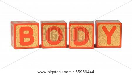 Body on Colored Wooden Childrens Alphabet Block.