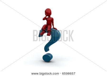 3D Mann sitting on Top of ein Fragezeichen
