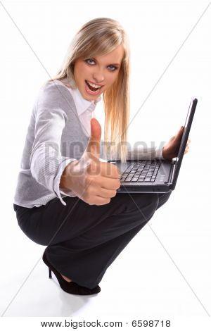 Beautiful girl working on laptop