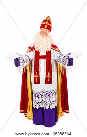 Sinterklaas portrait arms wide. isolated on white background. Dutch character of Santa Claus
