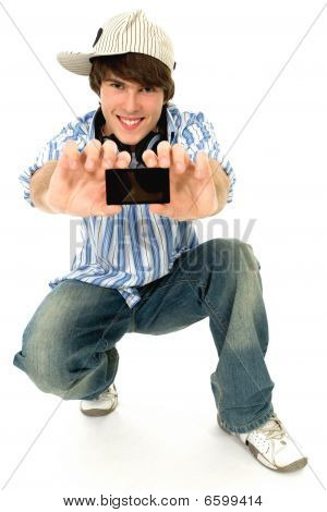 Cool young guy with mp3 player