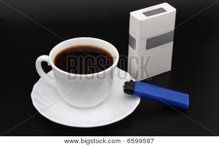 Cup Of Coffee. Cigarettes And Lighter.