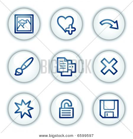 Image viever web icons set , white circle buttons series