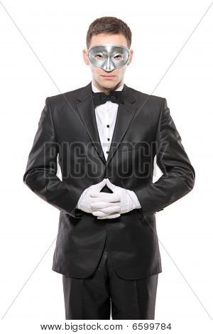 Man With A Mask Isolated On White