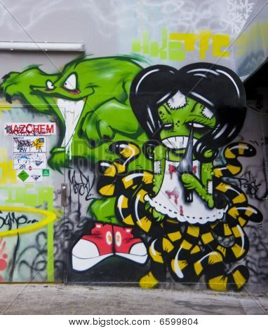 Graffiti green monster with girl