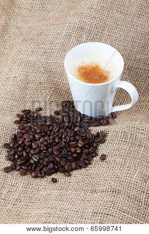 Freshly Roasted Coffee Beans And A Cup Of Coffee