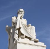 stock photo of neoclassical  - Neoclassical statue of ancient Greek philosopher Socrates outside Academy of Athens in Greece - JPG