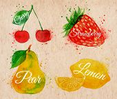 picture of strawberry  - Fruit set drawn watercolor blots and stains with a spray cherry - JPG