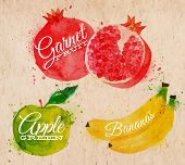 picture of banana  - Fruit set drawn watercolor blots and stains with a spray banana - JPG