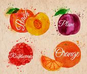 image of plum fruit  - Fruit set drawn watercolor blots and stains with a spray peach - JPG