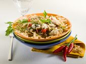stock photo of hake  - pasta with hake - JPG