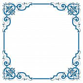 picture of scrollwork  - Vintage scrollwork border frame has an old fashioned sign flavor in black and white pen and ink style - JPG