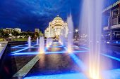 picture of serbia  - saint sava temple with fountain in belgrade serbia - JPG