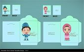 foto of hari  - Vector Muslim Brother Sister Greeting Hari Raya Money Green Packet Design - JPG