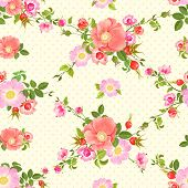 stock photo of dog-rose  - Seamless vector pattern with flowers and rose hips - JPG