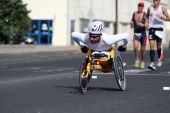 Disabled Athlete In A Sport Wheelchair In Lanzarote Marathon 2009 In Lanzarote Marathon 2009