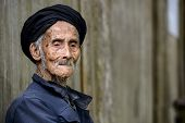 foto of centenarian  - An elderly member of the Yao minority people in Tiantou Village - JPG