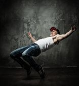 foto of break-dancing  - Man dancer showing break - JPG