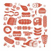 stock photo of sausage  - Set of flat vector meat and sausage icons - JPG
