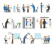 picture of handshake  - Illustrations of people working in an office with groups in meetings  conference  call centre  lift  presentation  discussion  brainstorming  training  handshake  reaching an agreement and training - JPG