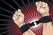picture of handcuffs  - Conceptual image of breaking the bonds in a bid for for freedom and liberty with a strong man clenching his hands to snap the handcuffs around his wrists vector illustration - JPG