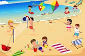 image of volleyball  - A vector illustration of happy kids having fun on the beach - JPG