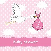 picture of stork  - Baby girl arrival announcement card - JPG
