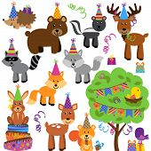 stock photo of jungle birds  - Vector Collection of Birthday Party Themed Forest or Woodland Animals - JPG