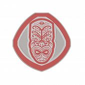 image of maori  - Metallic styled illustration of a traditional maori mask face facing front set inside shield done in retro style on isolated background - JPG