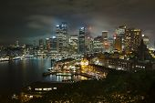 stock photo of cbd  - Night skyline of Sydney - JPG