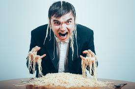 picture of madman  - Crazy consumerism concept - JPG