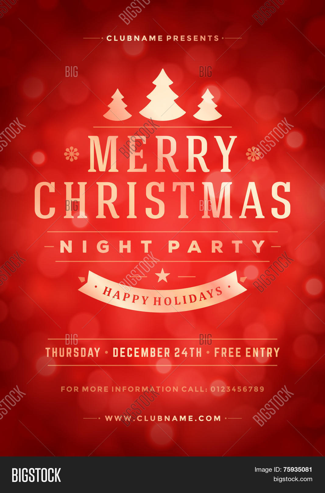 Free christmas poster design templates - Christmas Night Party Poster Or Flyer Vector Illustration Merry Christmas Design Template Vector Background