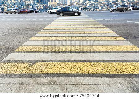 Zebra Of Pedestrian Crosswalk On Street