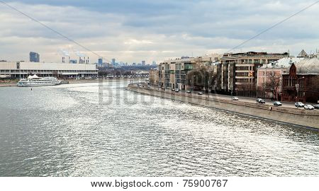 Bolotnaya Embankment Along Canal Of Moskva River