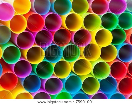 Ends Of Multicoloured Plastic Drinking Straws