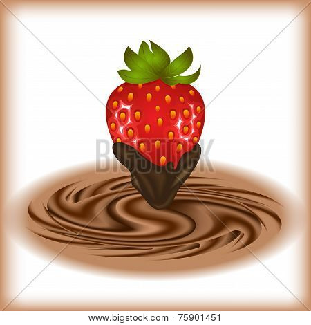 Strawberry With Chocolate Swirl
