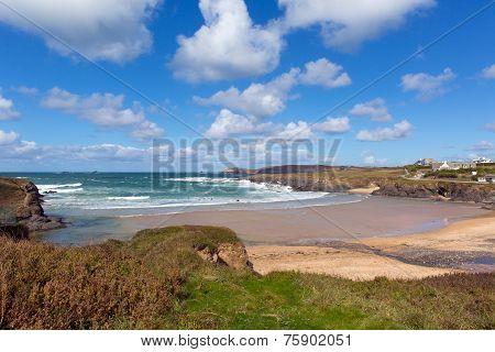 Cornish north coast Treyarnon Bay Cornwall England UK near Newquay