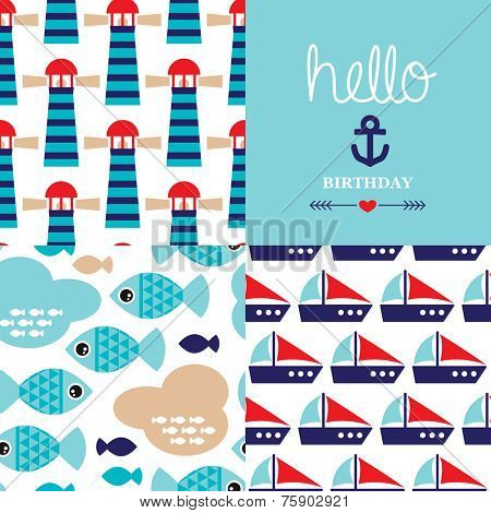 Seamless marine deep sea fish and lighthouse background pattern and hello birthday harbor theme postcard cover design in vector