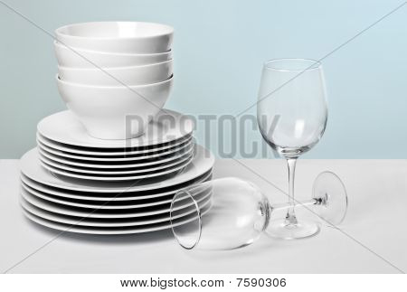 Commercial White Dishes and Wine Glasses