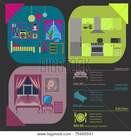 House Remodeling Graphic. Set Interior Elements For Creating Your Infographics