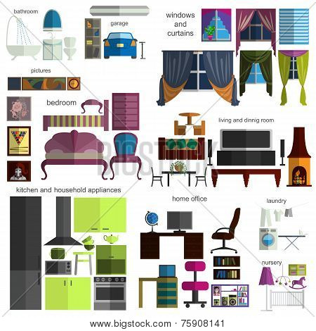 House Remodeling Infographic. Set Flat Interior Elements For Creating Your Infographics